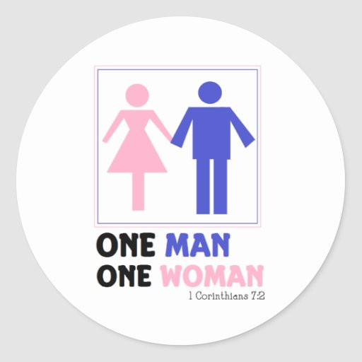 One Man One Woman Classic Round Sticker