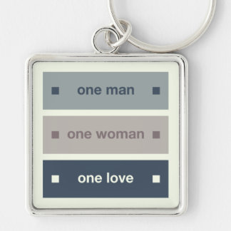 One Man, One Woman, One Love Silver-Colored Square Keychain