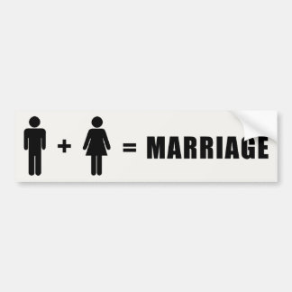 One Man Plus One Woman Equals Marriage Car Bumper Sticker