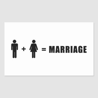 One Man Plus One Woman Equals Marriage Rectangular Sticker
