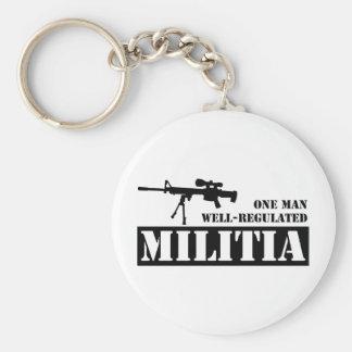 One Man Well Regulated Militia Basic Round Button Keychain