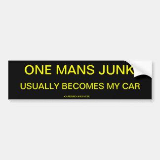 ONE MANS JUNK CAR BUMPER STICKER