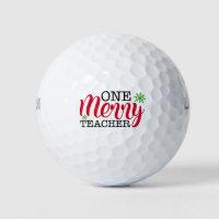One Merry Teacher Modern Christmas Typography Golf Balls