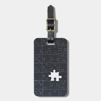 One Missing Puzzle Piece black and white Bag Tag