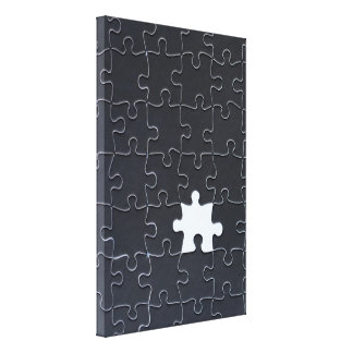 One Missing Puzzle Piece black and white Canvas Print