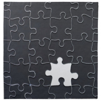 One Missing Puzzle Piece black and white Cloth Napkin