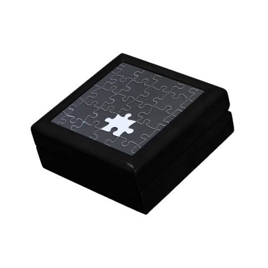 One Missing Puzzle Piece black and white Gift Box