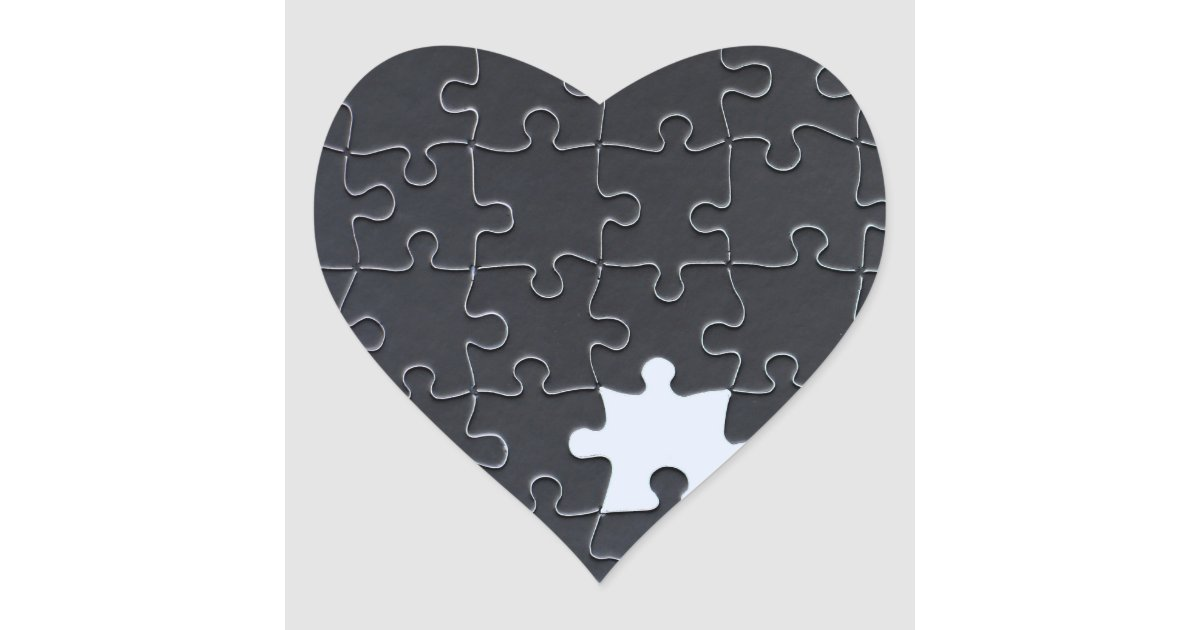 One Missing Puzzle Piece black and white Heart Sticker ...