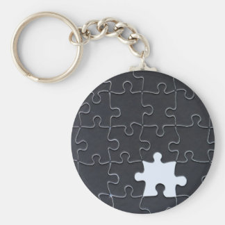 One Missing Puzzle Piece black and white Keychain