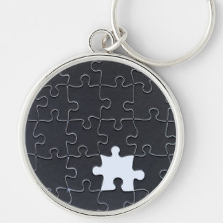 One Missing Puzzle Piece black and white Silver-Colored Round Keychain