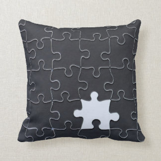 One Missing Puzzle Piece black and white Pillow