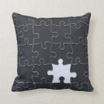 One Missing Puzzle Piece black and white Throw Pillows