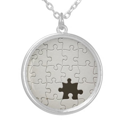 One Missing Puzzle Piece Round Pendant Necklace