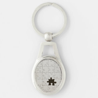 One Missing Puzzle Piece Silver-Colored Oval Metal Keychain