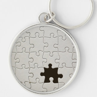 One Missing Puzzle Piece Silver-Colored Round Keychain