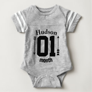 One Month Arrows Baby Boy Personalized Baby Bodysuit
