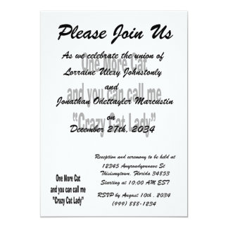 one more cat and you can call me crazy cat lady 5x7 paper invitation card