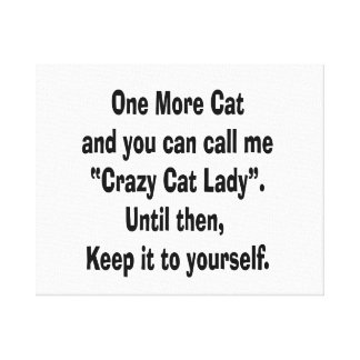 one more cat crazy cat lady until then canvas print