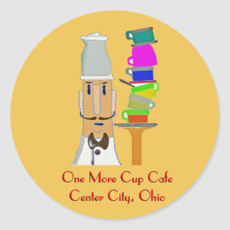 One More Cup Cafe Classic Round Sticker