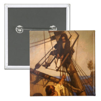 One more step Mr. Hands - N.C. Wyeth painting Pinback Buttons