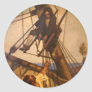 One more step Mr. Hands - N.C. Wyeth painting Classic Round Sticker