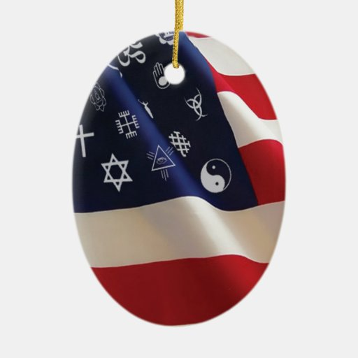One Nation Many Gods Double-Sided Oval Ceramic Christmas Ornament