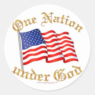 One Nation Under God Classic Round Sticker