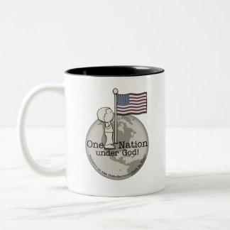 One Nation Under God-Little Boy at US Flag Two-Tone Coffee Mug