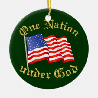 One Nation Under God Double-Sided Ceramic Round Christmas Ornament