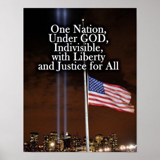 One Nation Under God Patriot Day 9/11 Patriotic Poster