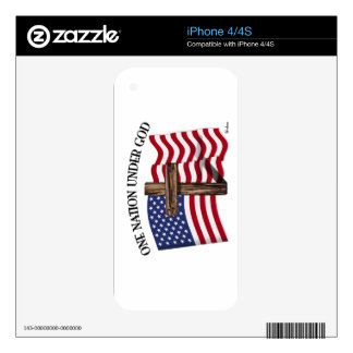 One Nation Under God with rugged cross and US flag iPhone 4 Decals
