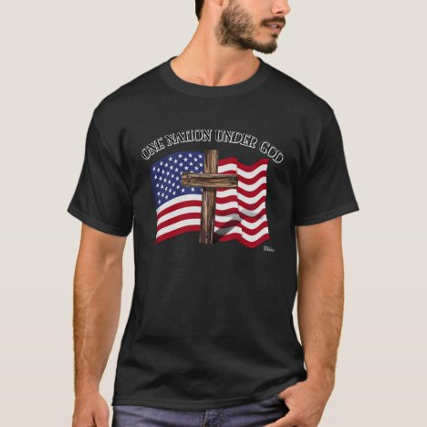 One Nation Under God with rugged cross and US flag T-Shirt