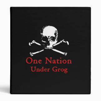 One Nation Under Grog binder (white skull)