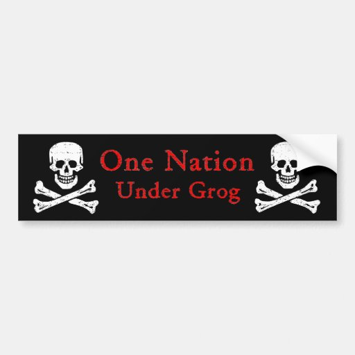 One Nation Under Grog Bumpersticker (red ltr) Bumper Sticker