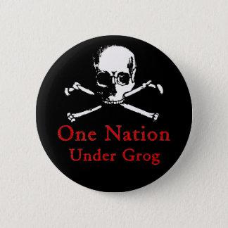 One Nation Under Grog button (white skull)