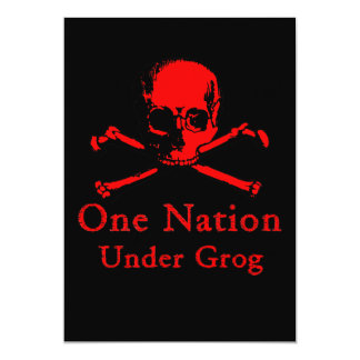 One Nation Under Grog invitations (red skull)
