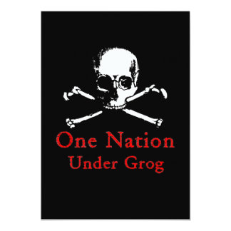 One Nation Under Grog invitations (white skull)