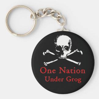 One Nation Under Grog keychain (white skull)