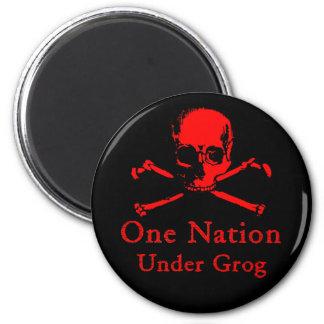 One Nation Under Grog magnet (red skull)