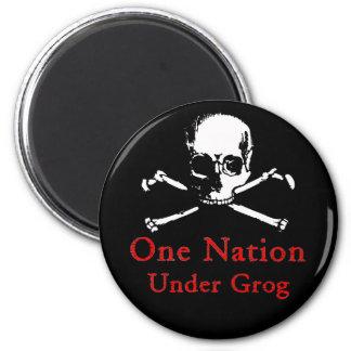 One Nation Under Grog magnet (white skull)
