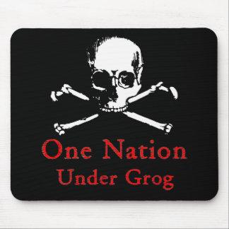 One Nation Under Grog mousepad (white skull)