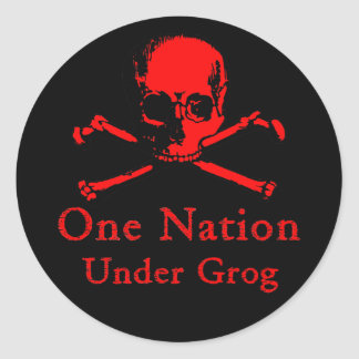 One Nation Under Grog stickers (red skull)