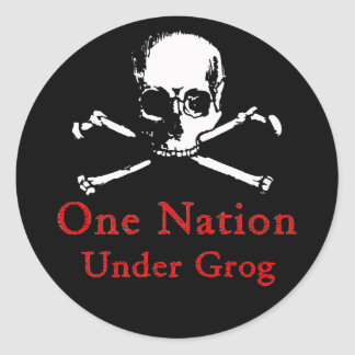 One Nation Under Grog stickers (white skull)