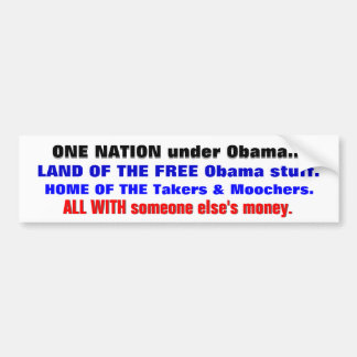 ONE NATION under ObamaHOME of the FREE Obama Stuff Bumper Sticker