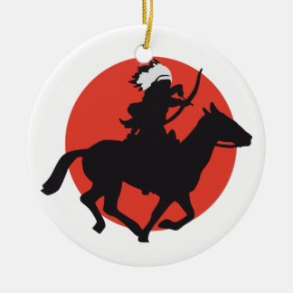 one native american on horse with bow and arrow ceramic ornament