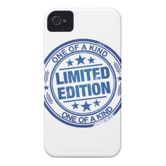 One of a kind -blue rubber stamp effect- iPhone 4 Case-Mate case