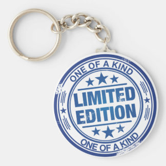 One of a kind -blue rubber stamp effect- keychain