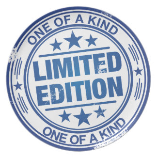 One of a kind -blue rubber stamp effect- melamine plate