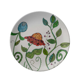 one of a kind floral plate