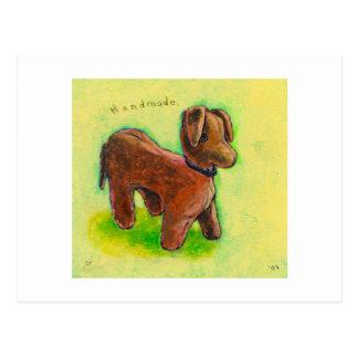 One of a Kind handmade stuffed toy dog painting Postcard
